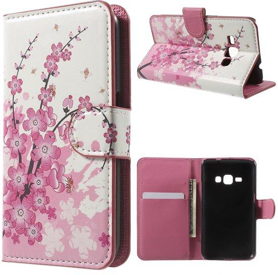 Samsung Galaxy J1 2016 Hoesje Bloemen Roze met Opbergvakjes, J120f in Zwijndrecht