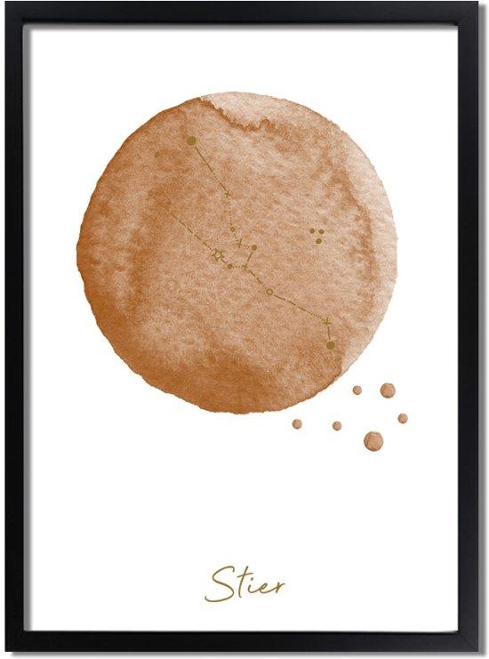 DesignClaud FOLIEDRUK Sterrenbeeld poster Stier – Bruin A2 + fotolijst zwart (42x59,4cm)