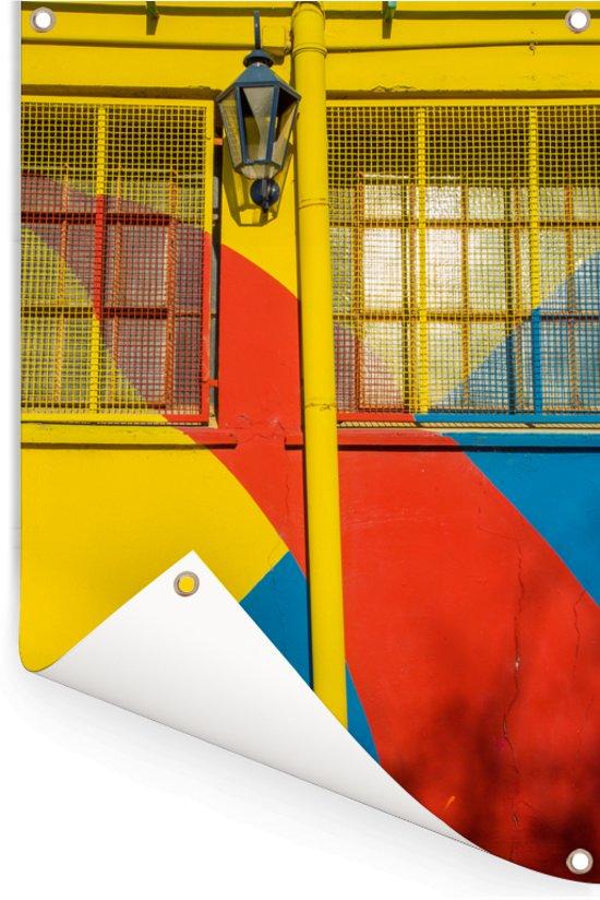 Een muur met felle kleuren bij de wijk La Boca in Zuid-Amerika Tuinposter 40x60 cm - klein - Tuindoek / Buitencanvas / Schilderijen voor buiten (tuin decoratie)
