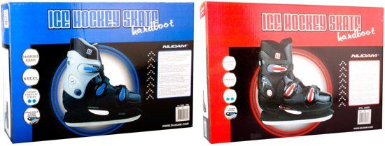 Nijdam 0089 IJshockeyschaats - Hardboot - Zwart/Blauw - Maat 40