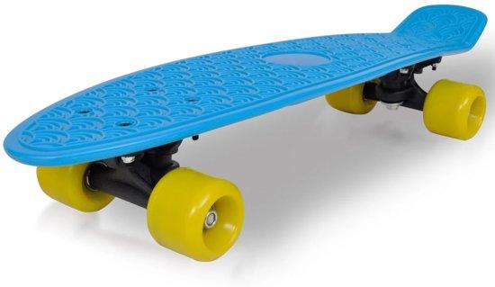 """""""Retro skateboard met blauwe bovenkant en gele wielen 6,1"""""""""""""""