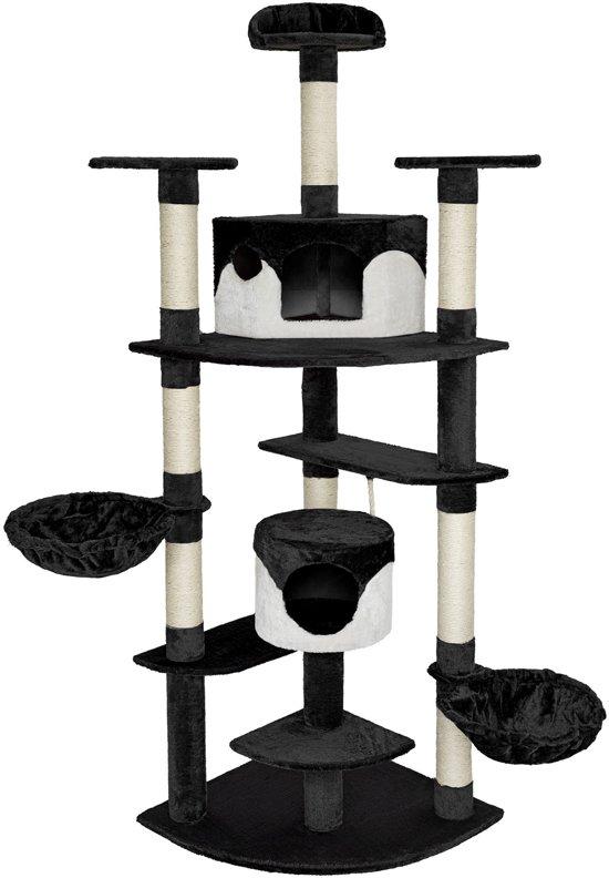 TecTake Katten krabpaal Fippi - 201 cm hoog - zwart wit - 402185