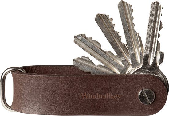 Windmillkey | Key Organizer | Puur Bruin | 2 tot 8 sleutels | Cadeau voor man | Stijlvol & Praktisch