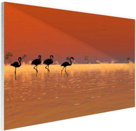 Flamingos silhouet Glas 60x40 cm - Foto print op Glas (Plexiglas wanddecoratie)