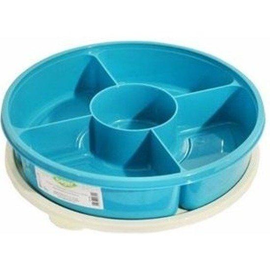 Bak Met Vakjes.Blauwe Hapjesschaal Vershoud Bak Met Vakjes En Deksel 25 Cm Serveerschalen Hapjesschalen Bewaarbakken Met Vakken