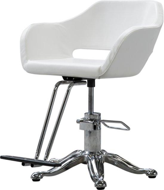 Witte Stoelen Design.Bol Com Kappersstoel Design Stoel Uitgevoerd In Wit Pu Leer