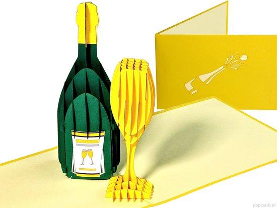 Popcards Popupkaarten Champagne Jubileum En Felicitatie Verjaardag Jarig Feest Pop Up Kaart
