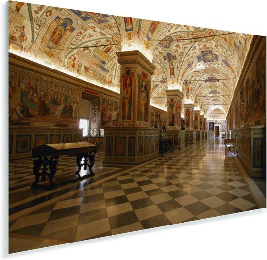 Hal van de bibliotheek in het Vaticaanse Musea Plexiglas 90x60 cm - Foto print op Glas (Plexiglas wanddecoratie)