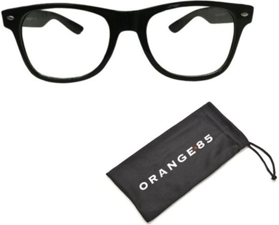 Nerdbril zwart zonder sterkte - inclusief hoesje - Wayfarer model