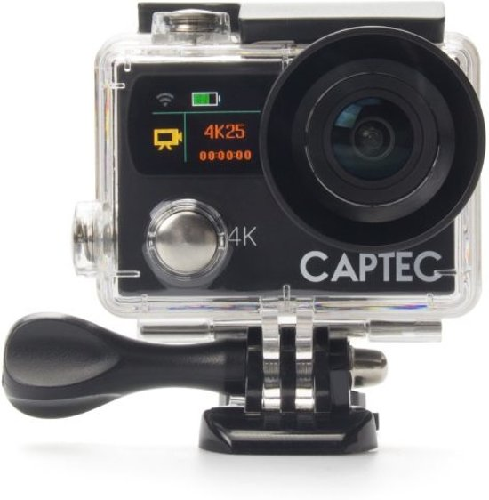 Captec Capture 5 - Action Cam - 4K Ultra HD - WiFi - Afstandsbediening - Action camera - Helm camera - Waterdicht - Front & back display - Transportkoffer - Onderwatercamera - incl. Accessoires set