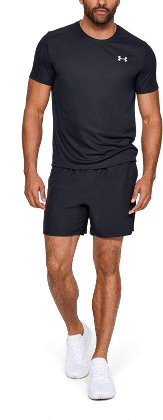 Under Armour Speed Stride Shortsleeve Sportshirt Heren - Zwart - Maat L