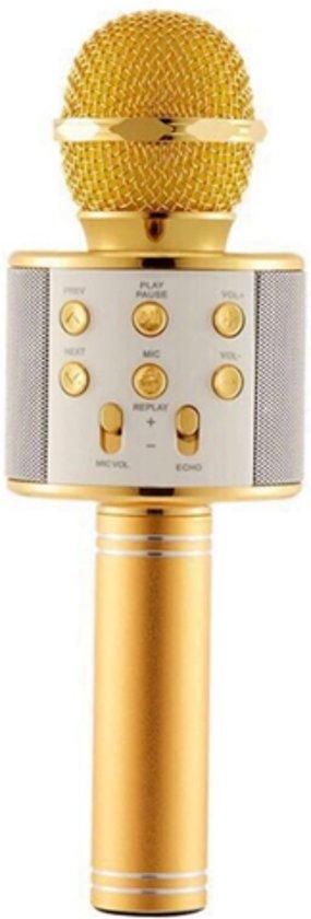 Afbeelding van Karaoke Microfoon - Draadloos - Bluetooth Verbinding - Goudkleurig - Voor de gezelligste feestjes