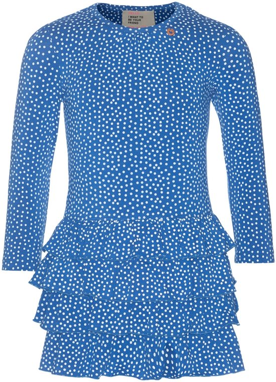 jurk blauw witte stippen