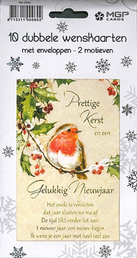 20 Kerstkaarten - Folie - Witte envelop - 10,5 x 16 cm