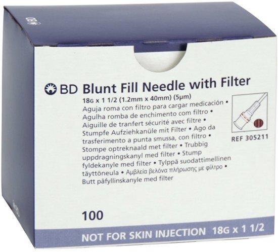 "BD Blunt Fill Veiligheidsnaald 18Gx1½"" 1,20x40mm met 0,5µ filter, 100stuk"