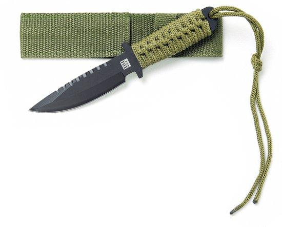 101inc Survival Mes A - Gehard Staal - 19,5 cm - Groen