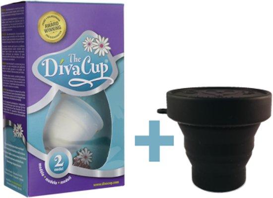 Divacup 2, herbruikbare menstruatiecup + handige magnetronsterilisator (zwart)