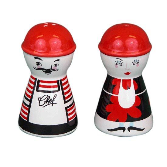 ComfortTrends Peper en zoutstel Keramiek rood   wit   zwart  - 2-delig