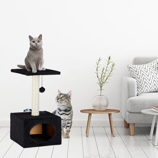 relaxdays krabpaal voor katten - kattenkrabpaal - speelbal - kattenmand - 56 x 31 x 31 cm grijs