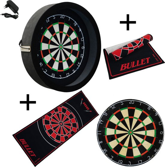 Dragon - Sorpresa PRO - Complete PRO - zwart-bullet rood - best getest - dartbord - dartmat bullet - dartbord verlichting