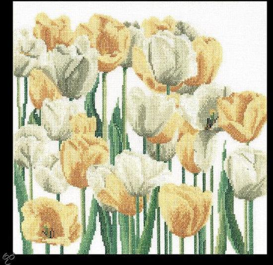 Thea Gouverneur Borduurpakket 3065A Tulpen - Aida stof 100% katoen