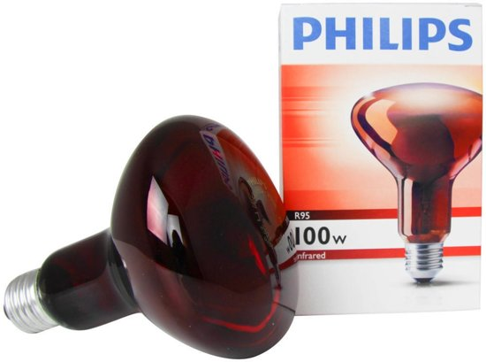 Philips Infrarood R95 E27 100W Rood 130x95mm