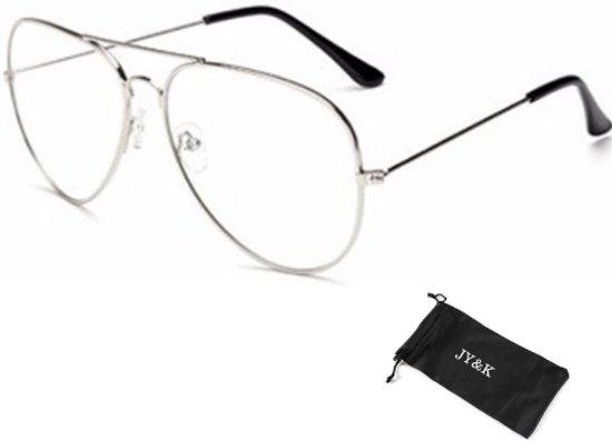 Bril zonder sterkte - zilverkleurig - piloten bril - met glazen