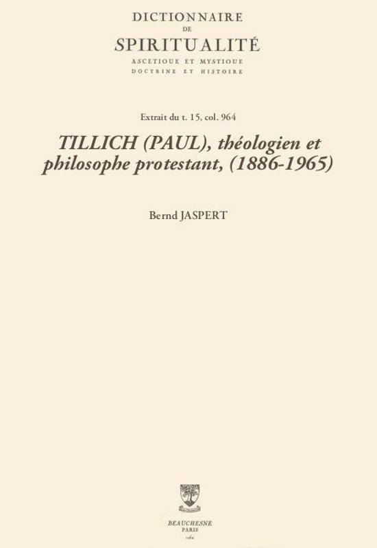 TILLICH (PAUL), théologien et philosophe protestant, (1886-1965)