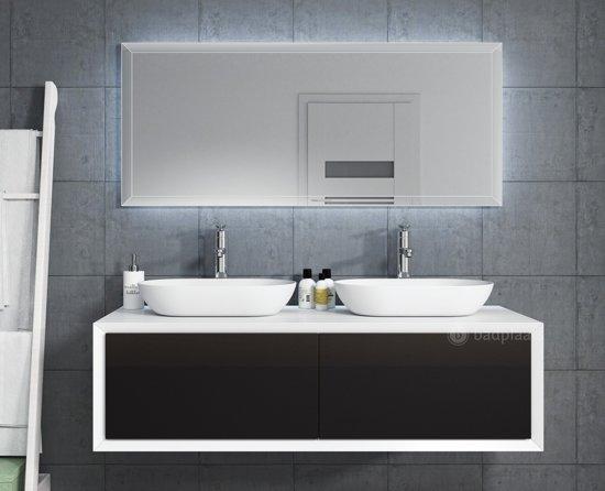 Bol.com badplaats badkamermeubel furore 140cm zwart met led spiegel