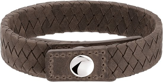 The Jewelry Collection For Men - Herenarmband -  Leer 15 mm 19 - 21 cm - Staal
