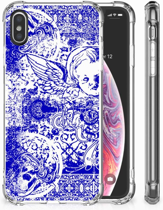 iPhone X   Xs Uniek TPU Hoesje Angel Skull Blue