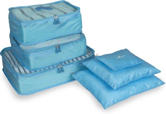TravelSky Packing Cubes - Koffer Organizer - Inpak Kubussen – 6 stuks - Lichtblauw