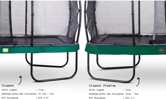 EXIT Elegant trampoline 214x366cm met net Economy - groen