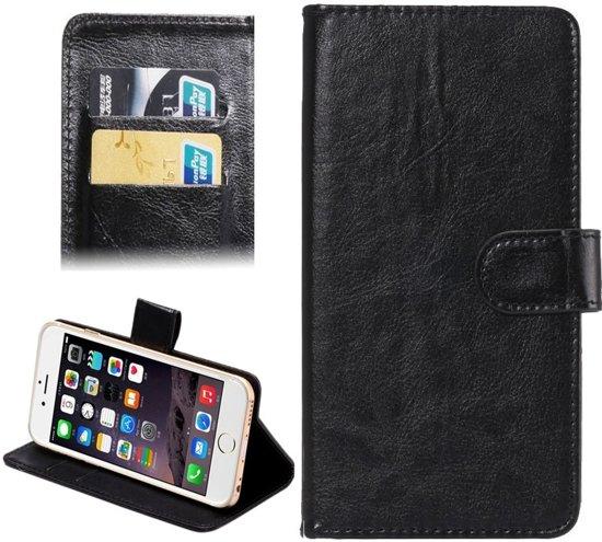 Samsung Galaxy S3 / S4 & Apple iPhone 6 & 6S Crazy Horse structuur Universeel 360 graden draaiend PU leren Flip Hoesje voor 4.3-4.8 inch telefoon met houder en opbergruimte voor pinpassen (zwart)