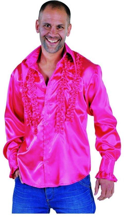 0224ce28d06 bol.com | Roze Disco blouse met rouches - Hippie verkleedkleding ...