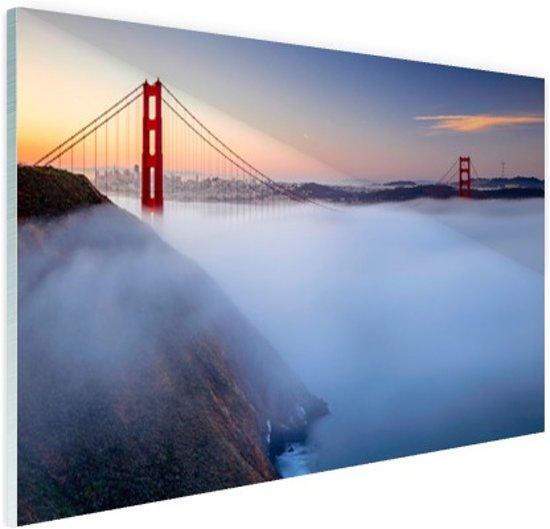 Golden Gate Bridge in de mist Glas 60x40 cm - Foto print op Glas (Plexiglas wanddecoratie)