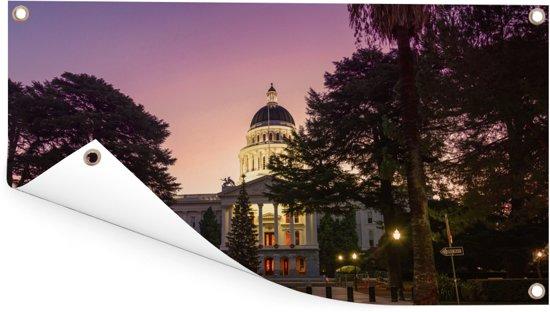 Capitool van Californië met een kleurrijke hemel in de Verenigde Staten Tuinposter 160x80 cm - Tuindoek / Buitencanvas / Schilderijen voor buiten (tuin decoratie)