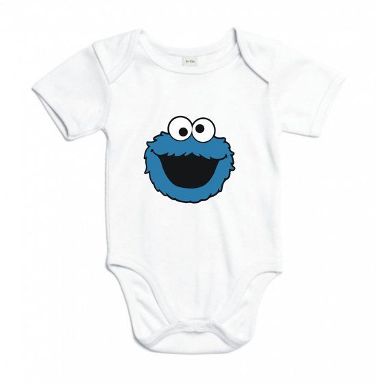 Baby rompertje Koekiemonster Sesamstraat | Korte mouw 74/80 wit