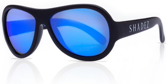 1eacecc7c7bb3a SHADEZ Black Blue Mirror - Onbreekbare kinder zonnebril - Zwart met blauwe  spiegelglazen - Maat 7