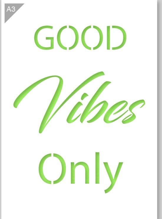 Bolcom Sjabloon Good Vibes Only Quote Karton Stencil A3 42 X 297