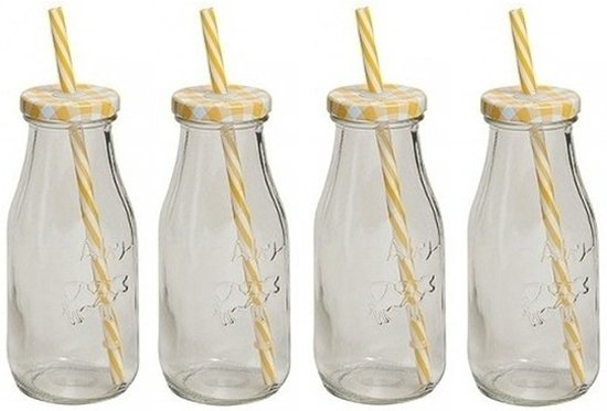 4x Geel/witte glazen drink flesjes met rietje 300 ml
