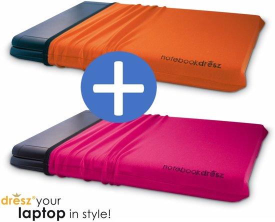 2 rekbare beschermhoezen voor 15.6 inch laptops tablets. Beschermt tegen krassen. DUO-PACK: oranje en roze (magenta)