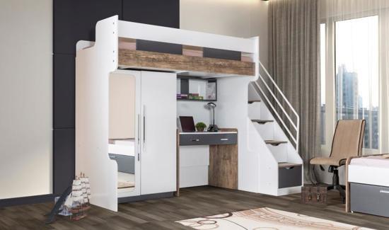 Compact Kinderkamer Voor Kleine Kamer Hoogslaper Bureau 2 Deurskast