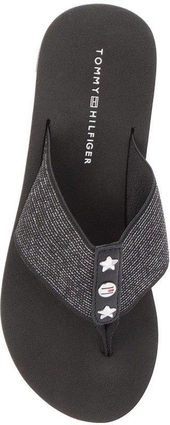 181935a70b42ff Tommy Hilfiger Dames Slippers Elevated Metallic Beach Sandal - Zwart - Maat  38
