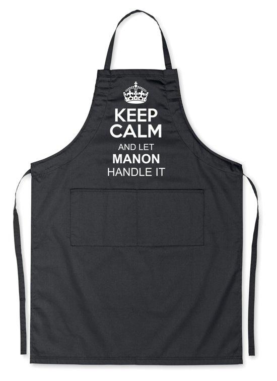 Mijncadeautje Schort - Keep Calm met je voornaam - opdruk wit - mooie en exclusieve keukenschort - zwart