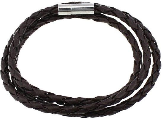 Wikkel armband - donker bruin - leer
