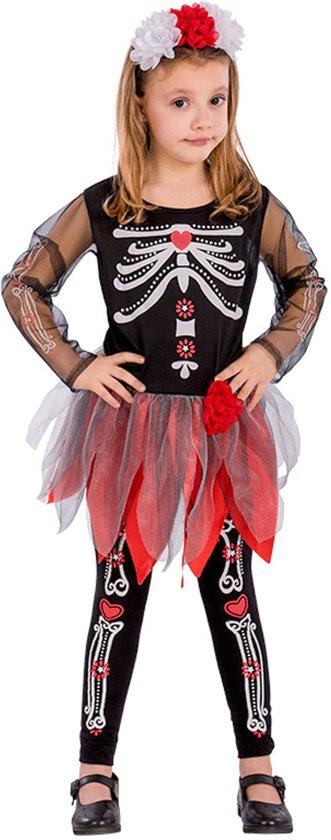 Rood en zwart skelet kostuum voor meisjes - Verkleedkleding