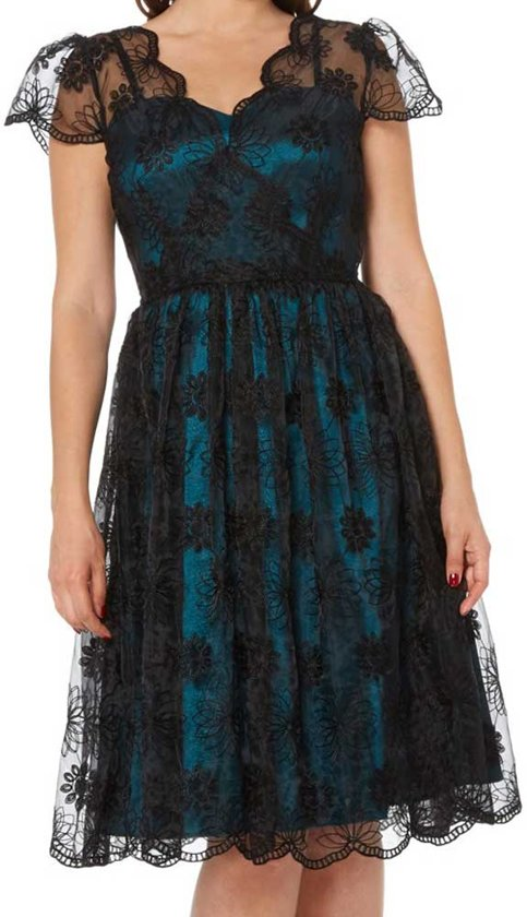 ff26a2aeca6b55 May jurk met kanten bovenlaag en kapmouwen teal blauw zwart - Vintage  Rockabilly - S