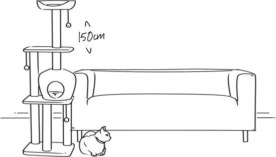 Krabpaal Tommie - 175 cm 2 huisjes - Geel met pootafdrukken
