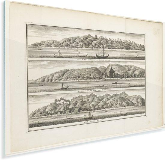 Verschillende versterkingen van de VOC op Ceram - Schilderij van Frederik Ottens Plexiglas 160x120 cm - Foto print op Glas (Plexiglas wanddecoratie) XXL / Groot formaat!